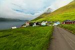 Coastal village of Kunoy, Kunoy island, Faroe Islands, Denmark, Europe