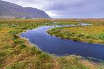 Flowing water of winding creek, Fredvang, Nordland county, Lofoten Islands, Norway, Europe