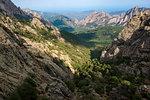 Trekking on the GR20 in Corsica near the Aiguilles de Bavella towards Refuge d'Asinao, Corsica, France, Mediterranean, Europe
