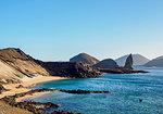 View towards Pinnacle Rock, Bartolome Island, Galapagos, UNESCO World Heritage Site, Ecuador, South America