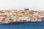 Village of Calasetta from the sea, Sant'Antioco Island, Sud Sardegna province, Sardinia, Italy, Mediterranean, Europe