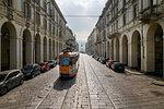 View of tram on Via Roma, Turin, Piedmont, Italy, Europe