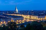 View of Turin and Mole Antonelliana from Santa Maria del Monte dei Cappuccini at dusk, Turin, Piedmont, Italy, Europe