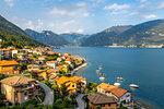 View of Lake Como village of Lezzeno, Province of Como, Lake Como, Lombardy, Italian Lakes, Italy, Europe