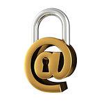 Internet security, conceptual illustration. At sign as padlock.