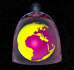Planet earth in glass bell jar, illustration.