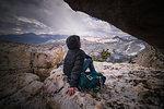 Climber resting on peak, Tuolumne Meadows, Yosemite National Park, California, United States