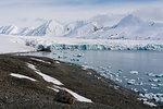Coastal landscape with sea ice and snow covered mountains, Isbjornhamna, Hornsund bay, Spitsbergen, Svalbard, Norway