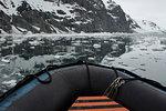 View of coastal sea ice from dinghy, Burgerbukta, Spitsbergen, Svalbard, Norway