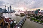 Waibaidu Bridge, the Bund and Pudong skyline, high angle view, Shanghai, China