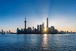 The Bund and Pudong skyline at sunrise, Shanghai, China