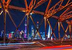 Waibaidu Bridge and Pudong skyline at night, Shanghai, China