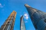 Jin Mao Tower, Shanghai Tower, Shanghai World Financial Centre against blue sky, low angle view, Shanghai, China