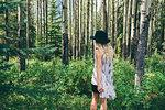 Woman enjoying forest, Banff, Canada