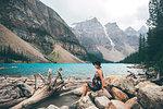 Woman enjoying view, Moraine Lake, Banff, Canada