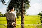 Woman looking out over Paddy Fields, Anuradhapura, Sri Lanka