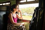 Woman on local train, Galle, South Coast, Sri Lanka