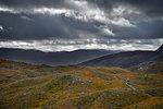 Male mountain biker biking on dirt track in mountain landscape, rear view,  Achnasheen, Scottish Highlands, Scotland