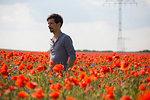 Man standing in sunny, idyllic rural red poppy field