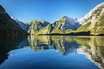 Lake Koenigssee, Watzmann Mountain, Berchtesgadener Land, Berchtesgaden National Park, Upper Bavaria, Bavaria, Germany, Europe