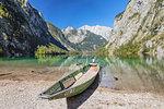 Fishing boat on Lake Obersee, Watzmann Mountain, near lake Koenigssee, Berchtesgadener Land, Berchtesgaden National Park, Upper Bavaria, Bavaria, Germany, Europe