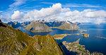 Aerial view of mountains around Reine, Moskenes, Norway, Europe