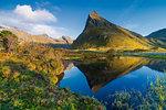 Volanstinden mountain above fjord in Fredvang, Lofoten Islands, Norway, Europe