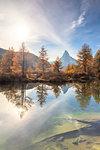 Grindjisee Lake by Matterhorn during autumn in Zermatt, Switzerland, Europe