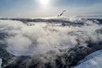 Aerial view in winter, Tokachi, Hokkaido, Japan