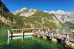 Landing stage at Saletalm Alp on Lake Koenigssee, Watzmann Mountain, Berchtesgadener Land, Berchtesgaden National Park, Upper Bavaria, Bavaria, Germany, Europe