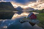 Traditional rorbu, Vagspollen, Leknes, Nordland, Lofoten Islands, Norway, Europe