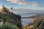 View from Madonna della Rocca church down to Giardini-Naxos, Taormina, Sicily, Italy, Europe