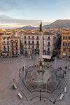 Colonna dell'Immacolata Monument at San Domenico Square near Vucciria, Palermo, Sicily, Italy, Europe