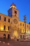 The Astronomical clock at dusk, Piazza dei Signori , Padua, Veneto, Italy, Europe