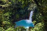 Rio Celeste in the Tenorio Volcano National Park  shows a bright blue colour like no other river due to a chemical reaction, Tenorio, Costa Rica, Central America