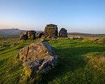 Warm sunlight on granite at Hound Tor in Dartmoor National Park, Bovey Tracey, Devon, England, United Kingdom, Europe