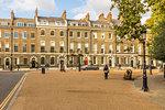Beautiful Georgian architecture in Bedford Square in Bloomsbury, London, England, United Kingdom, Europe