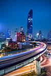 BTS skytrain and Mahanakhon building in background at Silom Road, Bangkok business district, Bangkok Thailand, Southeast Asia, Asia
