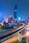 Mahanakhon building and BTS skytrain at Silom Road, Bangkok business district, Bangkok Thailand, Southeast Asia, Asia