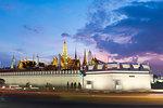 Tourists outside The Grand Palace at night, Bangkok, Thailand, Southeast Asia, Asia
