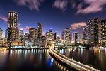 Bridge leading to Brickell Key and Downtown Miami skyline at night, Florida, United States of America, North America