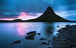 Kirkjufell (Church Mountain) at sunset, Snaefellsnes peninsula, Western Region (Vesturland), Iceland, Polar Regions