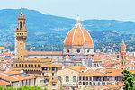 View of Unesco's Duomo Santa Maria del Fiore and Palazzo Vecchio from Bardini gardens, Florence, Tuscany, Italy, Europe