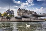 Scenic waterfront view of Ile de la Cite and Notre Dame Cathedral, Paris, France
