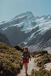 Hiker exploring wilderness, Wanaka, Taranaki, New Zealand