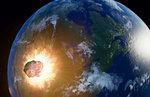 Huge asteroid impacting Earth, illustration.