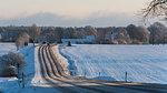 Snowy rural road in Stenta, Sweden