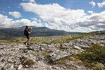 Man hiking in Rondane National Park, Norway
