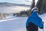 Teenage boy on ski slope in Hedmark, Norway