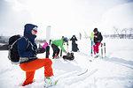 Skiers resting